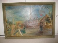 Oil painting of Copenhagen Harbour by Charles Crodel