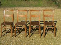 SET OF 4 OLD CHAPEL CHAIRS. More available. Delivery possible. ALSO CHURCH PEWS, TABLE & MONKS BENCH