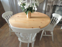 Shabby chic solid pine farmhouse style dining table with 4 chairs