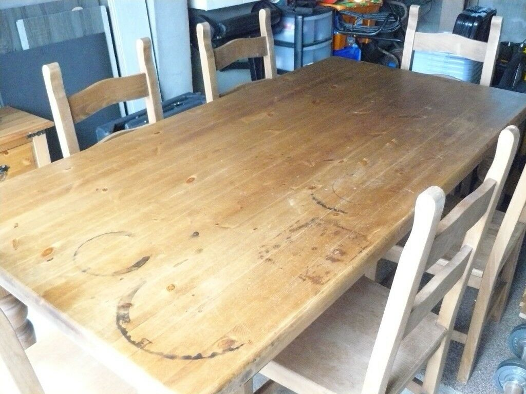Chunky Wooden Table And 6 Wooden Chairs For Sale Needing Some Tlc In Largs North Ayrshire Gumtree