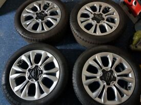 """FIAT 500X 2015 GENUINE 17"""" ALLOY WHEELS 215 55 17 CONTINENTAL TYRES 735624967"""