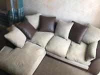 Cream and brown sofa can deliver
