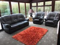 Brown Leather Suite Cost £1500 3 Seater Sofa + 2 Armchairs Immaculate