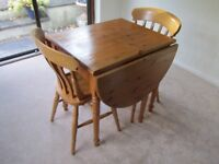 Pine Drop Leaf Dining Table & 2 Chairs