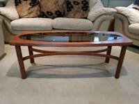 Vintage Retro original Solid Teak 'Nathan Astro' Coffee Table with smoked glass insert