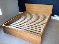 King size beech affect bed frame