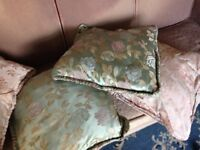 4 vintage cushions with feather filling & silky floral fabric green & pink, kitsch