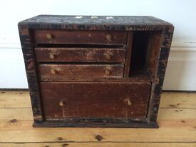Vintage Engineers Drawers Toolbox Cabinet Worn and Lovely Patina !