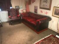 Chesterfield 3 Seater Sofa & Queen Anne Wing Back Chair Genuine Oxblood Leather Suite / Settee