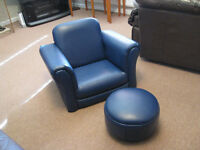 Blue Childs Armchair and Footstool