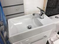 Excellent white gloss cloakroom bathroom vanity cupboard unit