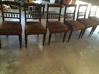 Six antique dining chairs