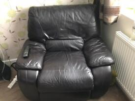 Two seater leather sofa and armchair