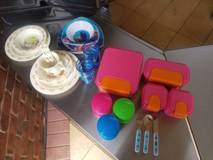 Mixed kids containers plates and cutlery