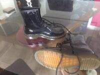 Black patent doc martin boots size 5