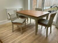 John Lewis Table and 4 chairs (with seat cushions)