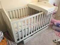 Mamas & Papas Cot bed with storage and charger top