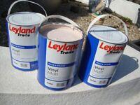 3 FULL 5LITRE TINS OF LEYLAND VINYL MATT PAINT PASTEL COLOUR ONLY £10 FOR QUICK SALE