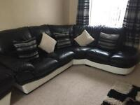 Leather corner sofa with 2 seater and storage footstool