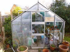 """Aluminium Greenhouse 10' LONG x 8' WIDE x 7' 6"""" HIGH (approx.) buyer to dismantle"""