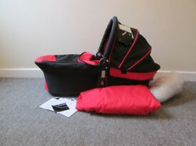 iCandy pink and black carrycot & footmuff, never used, for use with iCandy pushchair