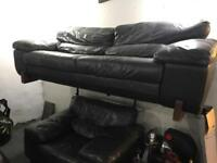 Large dark green leather 3 and 1 sofa set