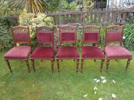 5 Antique Dining Chairs in Oak