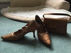 Navy patent lotus shoe and silky fabric Lexus shoe with matching handbag