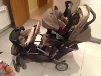 Graco double pram with carseat and raincoat