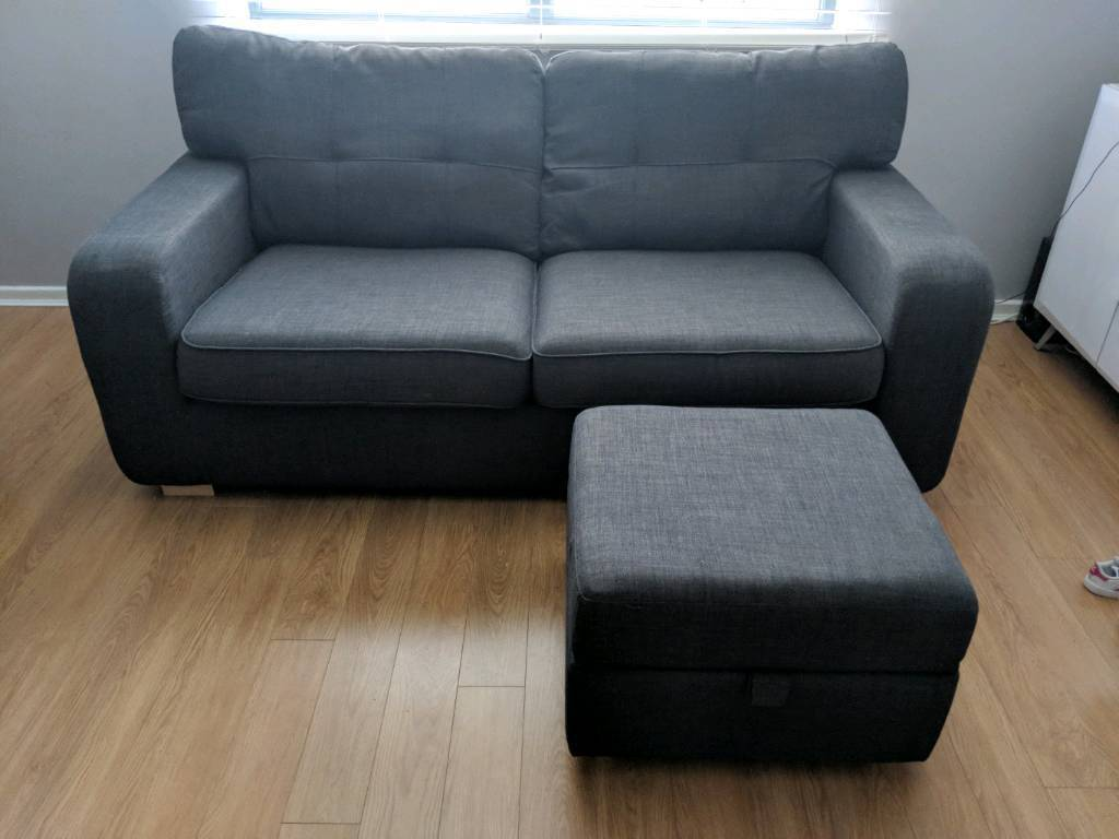 DFS 2 THREE SEAT SOFA AND FOOT STOOL FOR SALE