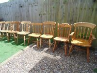VARIOUS PINE FARMHOUSE CHAIRS ALL IN EXCELLENT CONDITION £15 EACH