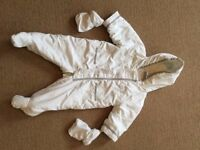 3-6 month baby pramsuit with detachable mittens - £2.00