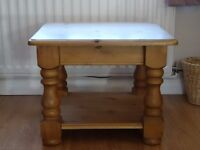 Solid Pine Coffee Table with shelf. Top 60cmx60cm height 48cm. Second hand item.