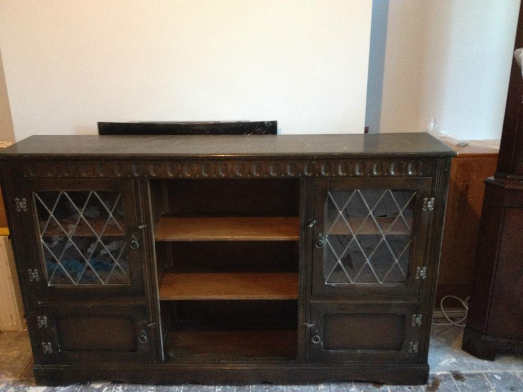 Dark Oak Sideboard China Display Cabinet With Leaded Glass