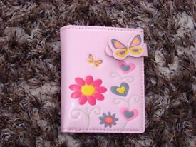 Girls as new faux leather butterfly pink purse. With popper/coin dept & compartments for cards and n