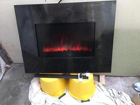 Black sparkle wall mount fire
