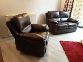 BROWN LEATHER SOFA AND RECLINING CHAIR