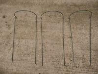 3 X Green Border Restraints / Arcs / Supports for Medium Sized Garen Plants / Flowers 76cm X 36cm