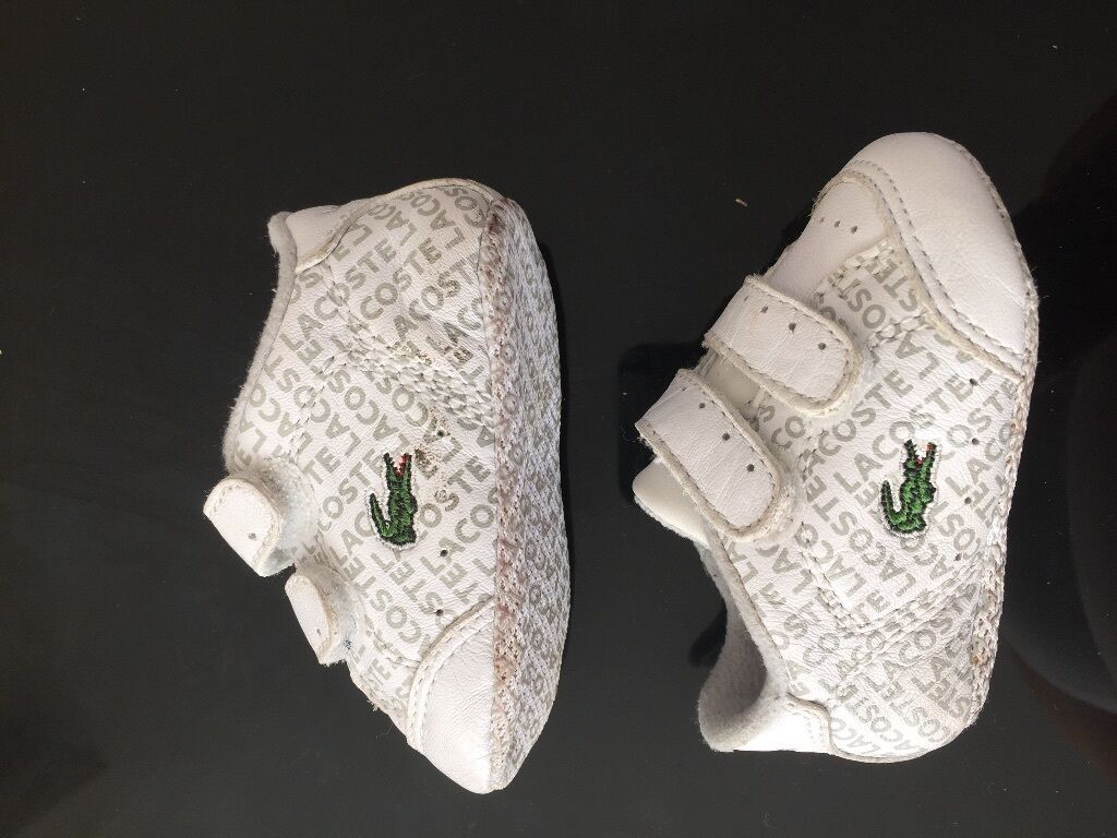 Beautiful Baby Boy Girl Newborn Lacoste White Trainers