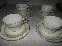Tea Cup & Saucer Trios X 4 Shamrock Regency Bone China