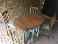 Fantastic shabby chic gate legged table with 4 x chairs
