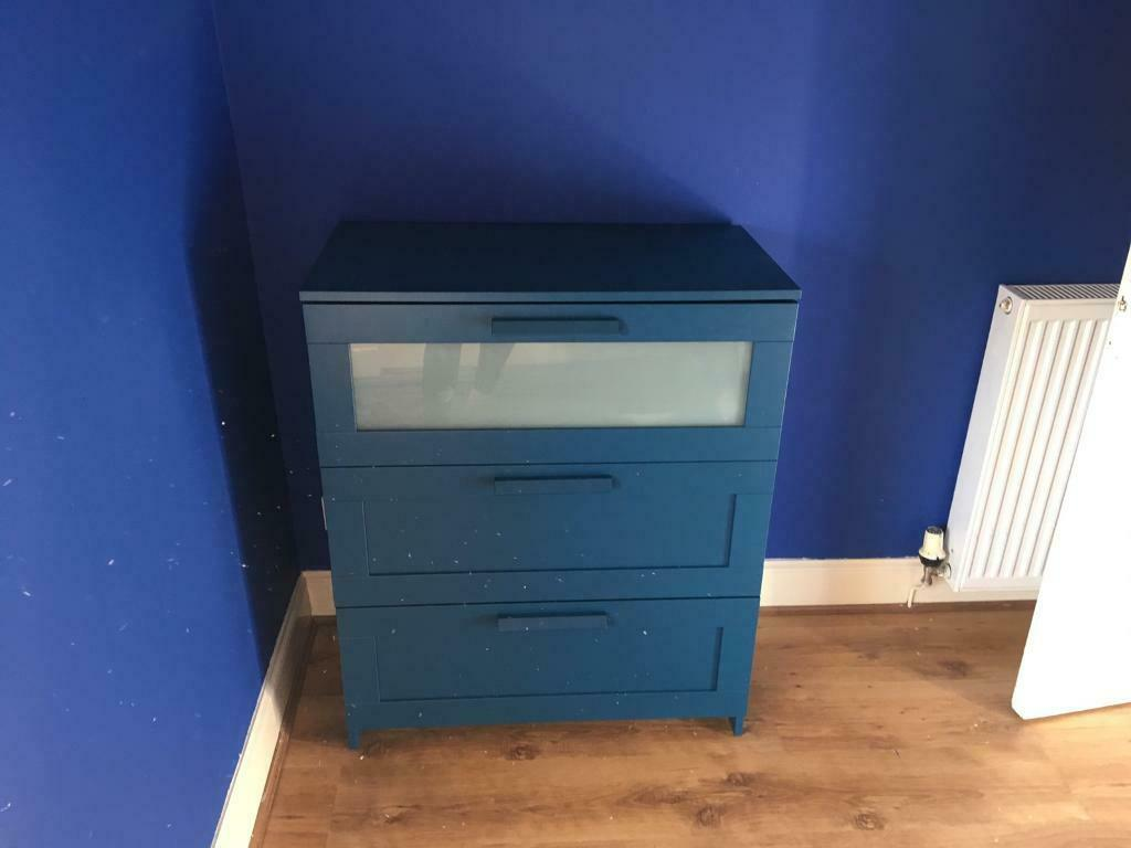 Ikea Chest Of 3 Drawers Blue In Penicuik Midlothian