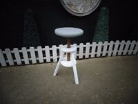SOLID PINE STOOL PAINTED WITH LAURA ASHLEY PALE DOVE GREY AND PARIS GREY
