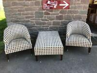 Designer armchairs & stool lounge set * free furniture delivery *