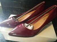 Ladies Burgandy Court Shoes UK Size 7