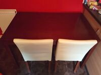Dinning table x4 cream chairs