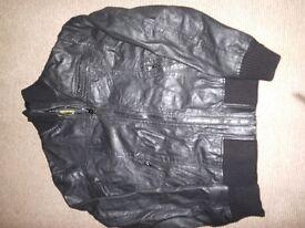 Mens Jack Jones Leather Jacket - Size Small