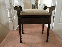 Edwardian Style Adjustable Height Piano Stool with storage for music
