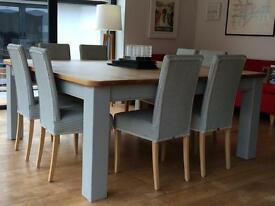Dinning table, solid oak top , painted grey legs