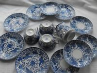 Beautiful Blue and White Noritake Howo Coffee Cups, Saucers, Plates and Jug